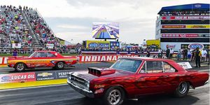 Jimmy Daniels and Gary Wolkwitz, teammates for Ray Barton Racing Engines, square off Friday in the Dodge Hemi Challenge final round at Indianapolis during the NHRA U.S. Nationals. Daniels earned a record third victory in the race-within-a-race.