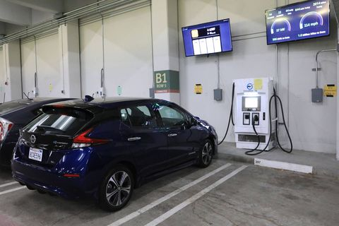 While most Leaf owners charge their cars with a 240-volt Level 2 line, our man Iger found a fast-charging Level 3 outlet and plugged in. It took about 15 minutes to go from a 50% state of charge to 80%. Due to the laws of physics and chemistry, the process starts to slow down once the battery charge hits about 80%. But Iger estimated that you could charge the Leaf's battery from almost flat to completely full in less than an hour, or to 80% full in about 30 minutes.