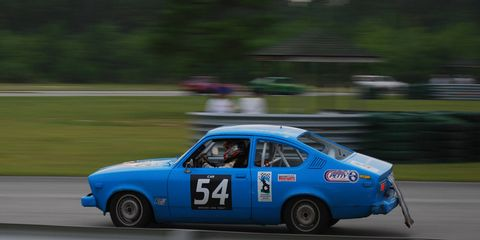 """The first Opel in Lemons was this 1978 Kadett, which was sold by Buick as the """"Opel Isuzu"""". This car was once owned by the Richard Petty Experience and used as a track car by them. It's still competing in the series, at Southern races."""