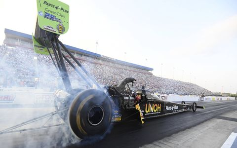 Courtney Force shattered Matt Hagan's Funny Car track record for elapsed time and Robert Hight eclipsed the overall top speed mark during qualifying Friday at the  NHRA Four-Wide Nationals Friday night at zMAX Dragway.