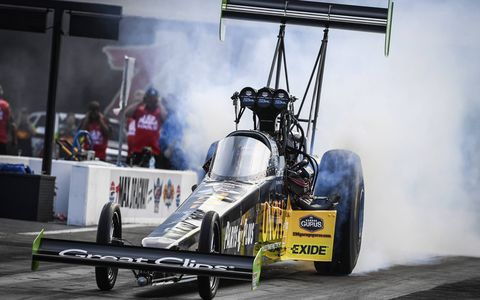 Clay Millican raced to the No. 1 qualifying position in Top Fuel at the NHRA Four-Wide Nationals at zMax Dragway Saturday. Courtney Force (Funny Car), Jeg Coughlin Jr. (Pro Stock) and Jerry Savoie (Pro Stock Motorcycle) were also No. 1 qualifiers in their respective categories at the sixth event of 24 on the 2017 NHRA Mello Yello Drag Racing Series schedule.