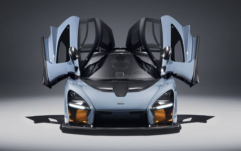 McLaren's new Ultimate Series hypercar, the Senna, is a radical machine that promises sensational performance. For starters, try 0-60 mph in 2.7 seconds and 1,764 pounds of downforce a 155 mph. The car shown here sports 'victory gray' paint.