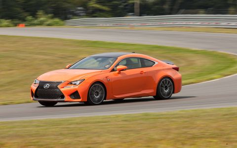 The wild 5.0-liter under the hood of the 2015 Lexus RC F pushes out 467 hp with 389 lb-ft of torque.