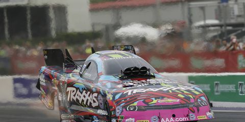 Courtney Force won on Sunday to move to the top of the NHRA Funny Car standings.