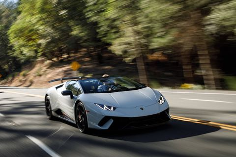 The 2018 Lamborghini Huracan Performante Spyder comes with a 5.2-liter V10 making 640 hp and 443 lb-ft of torque.