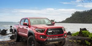 TOYOTA TACOMA -- The Toyota Tacoma  has been the sales champ of the midsize segment so far this year. The base truck starts at $27,425, while the top dog checks in at $46,410. The TRD Pro Tacoma comes equipped with the 3.5-liter V6 engine, part-time four-wheel drive, special Fox internal-bypass shocks, a stainless cat-back exhaust and 16-inch black alloy wheels with Goodyear Kevlar-reinforced tires.