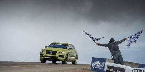 """A W12 Bentley Bentayga described as """"near-production specification"""" completed the Pikes Peak Hill Climb course in an SUV-record 10:49.9."""