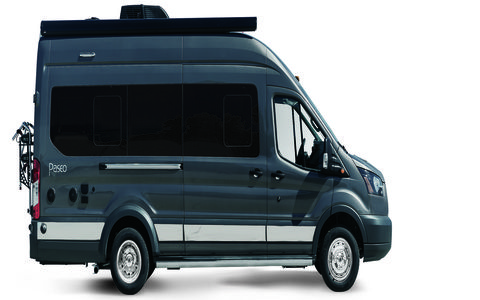 The Winnebago Paseo is 22 feet 1 inch of luxury lifestyle cruising, too much to even fully fit in the frame.