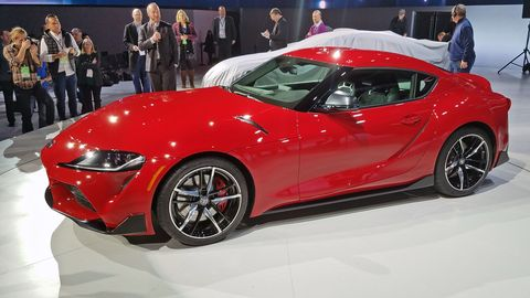The 2020 Toyota Supra made its debut at the 2019 Detroit auto show. The new GT is powered by a 3.0-liter turbocharged inline-six motor mated to an eight-speed automatic transmission. Producing 335 hp and 365 lb-ft of torque, the Supra does 0-60 in 4.1 seconds and has a top speed of 155 mph.