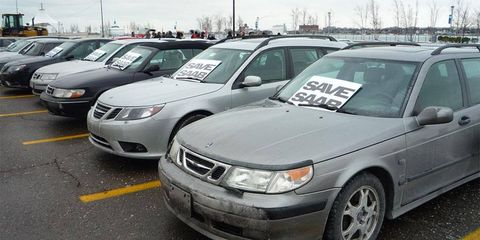 About 27 Saabs were on display at a rally near General Motors headquarters in Detroit in an effort to save the Swedish brand.