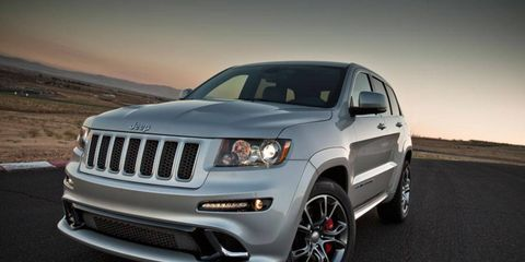 The 2012 Jeep Grand Cherokee SRT8's aggressive looks are backed up by performance: it can go from 0-60 mph in 4.8 seconds.