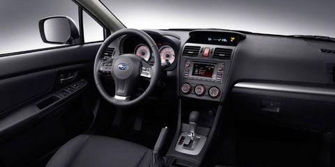 Inside the 2012 Subaru Impreza with cloth interior.