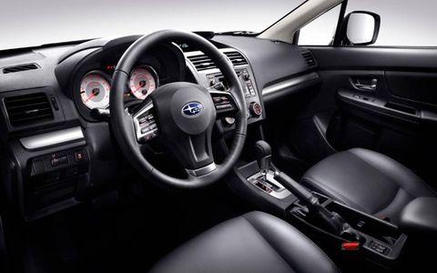 2012 Subaru Impreza interior with leather seating.