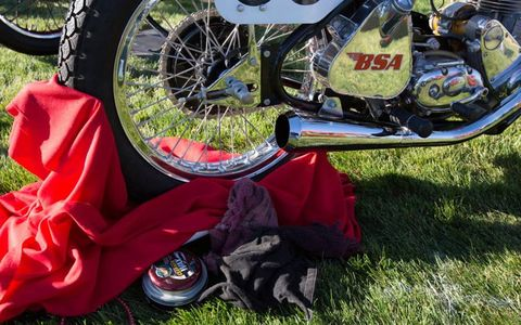 BSA motorcycle and cleaning items, ready for the show.