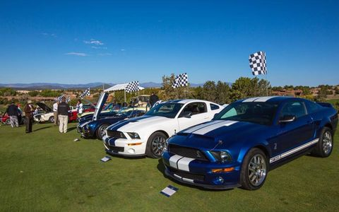 Shelby paddock, looking down the lawn towards the clubhouse, with the 2012 Cobra in foreground.