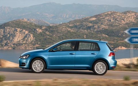 The 2013 Volkswagen Golf on a drive.