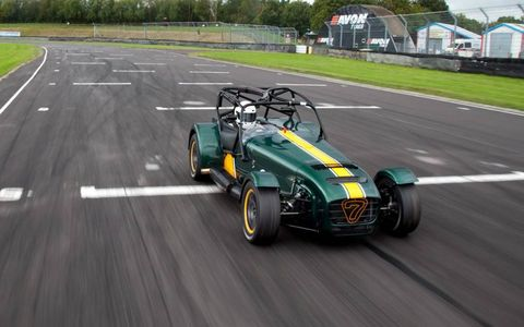 The Caterham Superlight R600 front view driving on track