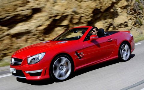 The 2013 Mercedes-Benz SL63 AMG features 530 horsepower under the hood.