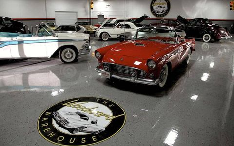 A former industrial storage building off of Woodward Avenue -- home of the annual Woodward Dream Cruise -- now houses dozens of classic cars owned by Detroit-area enthusiasts.