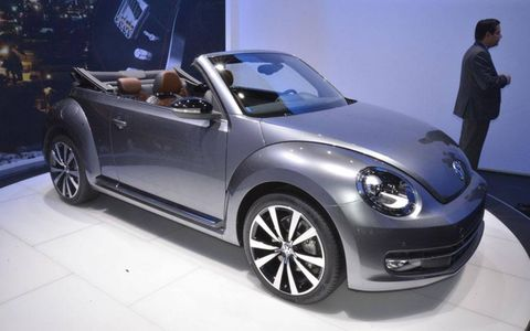A front view of the 2013 Volkswagen Beetle convertible at the Los Angeles Auto Show.