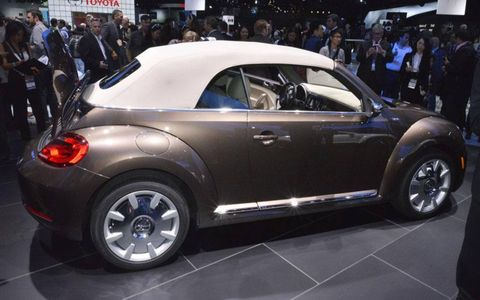 The 2013 Volkswagen Beetle convertible with the top in place.