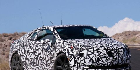 A close-up of the Cadillac ELR testing in the desert.