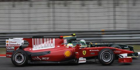 The bar code logo on the 2010 Ferrari Formula One car  is on the engine cover.