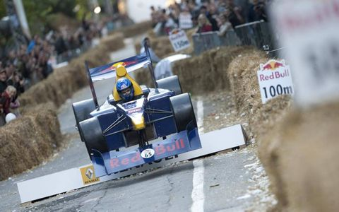 All downhill from here // A competitor clears an obstacle during Red Bull's recent soapbox derby race in Warsaw, Poland.
