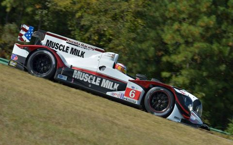 Lucas Luhr and Klaus Graf paced the American Le Mans Series field at Virginia International Raceway on Saturday.
