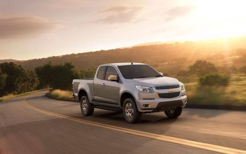2012 Chevy Colorado extended cab midsize pickup. GM officials won't say whether we'll see a new Colorado in the U.S.