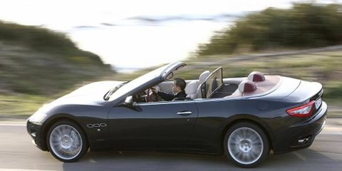 The Maserati GranTurismo Convertible is powered by a Ferrari-derived 4.7-liter V8 that makes 433 hp.