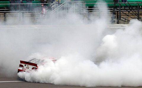 Kevin Harvick is in there somewhere, celebrating a NASCAR Chase win at Kansas.