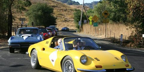 A collection of vintage and current sports cars begin a twisty trip to Napa Valley.
