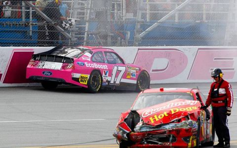 It was a case of checkers and wreckers at Talladega on Sunday.