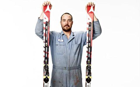 Teller combines mechanics and skiing.