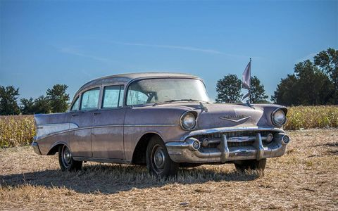 This 1957 Chevrolet was one of the best starting points for a restoration, and its mileage will permit this.
