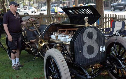 A 1909 Alco-6 gets ready for the road rally,