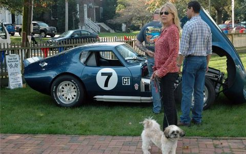 A replica Shelby Daytona Coupe gets inspected.