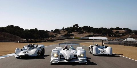 """Icons past and present: The Chaparral 2, the Acura ARX-02a and the CanAm Chaparral 2E, all clad in the famous """"milk""""-white livery, make an appearance at Laguna Seca."""