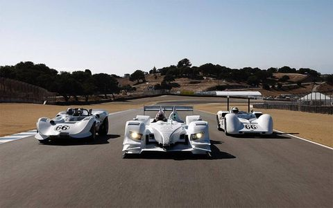 "Icons past and present: The Chaparral 2, the Acura ARX-02a and the CanAm Chaparral 2E, all clad in the famous ""milk""-white livery, make an appearance at Laguna Seca."