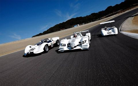 Another view of the Chaparral racers past and present.