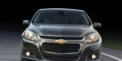 The 2014 Chevrolet Malibu features two engine options: Ecotec 2.5-liter DOHC I-4 iVLC DI with an output of 196-hp or the Ecotec 2.0-liter DOHC I-4 DI Turbo with an output of 259-hp.