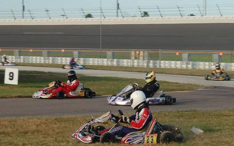 Drivers jockey for position on the infield go-kart track at Daytona.