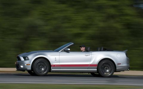The GT500 handles well, but the back end will step out around the corners if the driver isn't careful.