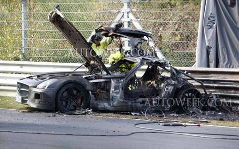 A recent test of the 2014 SLS AMG Black Series at the Nürburgring was cut short by a catastrophic fire.
