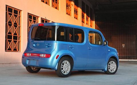 A rear view of the 2012 Nissan Cube 1.8 S Indigo Limited Edition.
