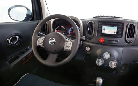 From the driver's seat of the The 2012 Nissan Cube 1.8 S Indigo Limited Edition.