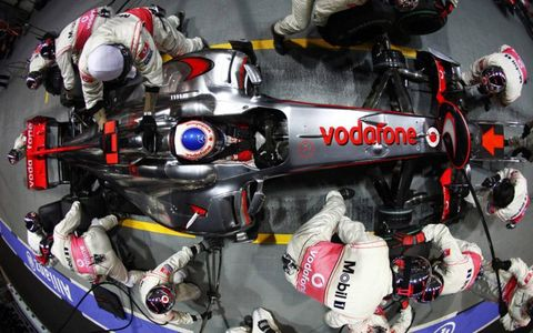 Jenson Button at a pit stop.