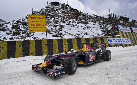 Neel Jani drives the Red Bull Racing Formula One show car through the Khardung-La pass in the Himalayas in India on Oct. 9.
