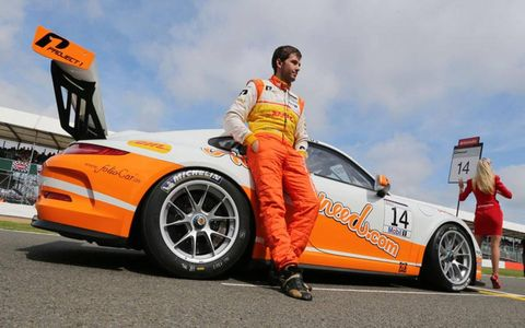 Sean Edwards on the grid awaiting the start of a Porsche Supercup race at Silverstone in England this past summer.